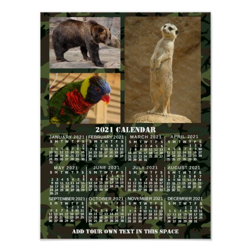 2021 Year Monthly Calendar Camouflage Add 3 Photos Poster