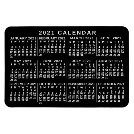 2021 Year Monthly Calendar Classic Black and White Magnet