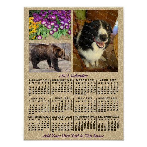 2021 Year Monthly Calendar Coffee Beans 3 Photos Poster