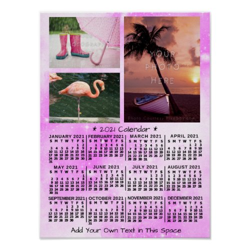 2021 Year Monthly Calendar Pink Watercolor 3 Photo Poster