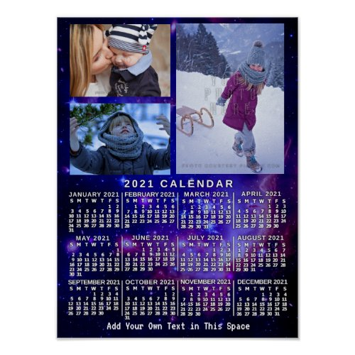 2021 Year Monthly Calendar Space Nebula 3 Photos Poster