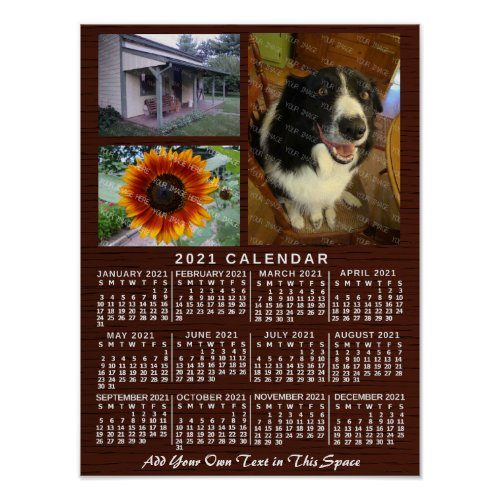 2021 Year Monthly Calendar Wood Custom 3 Photos Poster