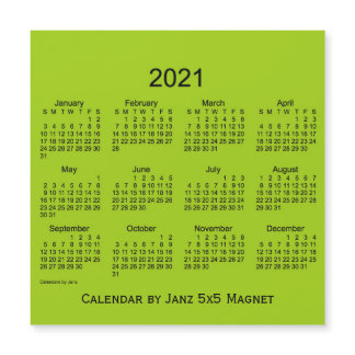 2021 Yellow Green Calendar by Janz 5x5 Magnet