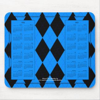 2022-2023 calendario Mousepad, Argyle Azul-Negro Tapete De Ratones
