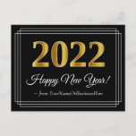 [ Thumbnail: 2022 New Year - Fancy, Luxurious, Faux Gold Look Postcard ]