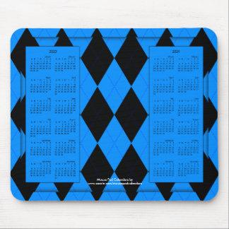 2023-2024 calendario Mousepad, Argyle Azul-Negro Alfombrilla De Raton