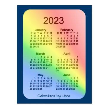 Professional Business 2023 Rainbow Blue 6 Month Mini Calendar by Janz Postcard