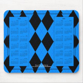 2024-2025 calendario Mousepad, Argyle Azul-Negro Tapetes De Raton