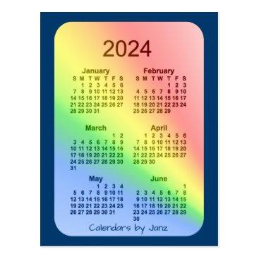 Professional Business 2024 Rainbow Blue 6 Month Mini Calendar by Janz Postcard