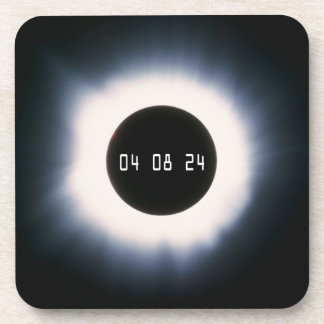 2024 Total Solar Eclipse in Black and White Drink Coaster