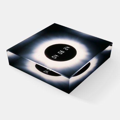 2024 Total Solar Eclipse in Black and White Paperweight