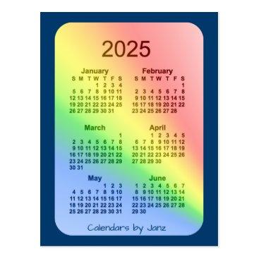 Professional Business 2025 Rainbow Blue 6 Month Mini Calendar by Janz Postcard
