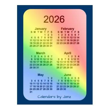 Professional Business 2026 Rainbow Blue 6 Month Mini Calendar by Janz Postcard