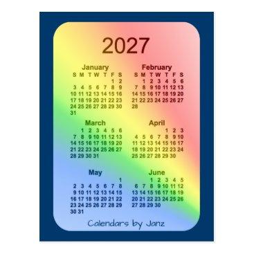 Professional Business 2027 Rainbow Blue 6 Month Mini Calendar by Janz Postcard