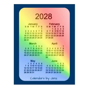 Professional Business 2028 Rainbow Blue 6 Month Mini Calendar by Janz Postcard