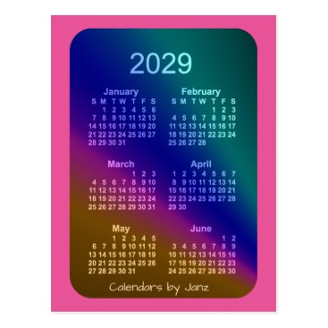 Professional Business 2029 Aurora Pink 6 Month Mini Calendar by Janz Postcard
