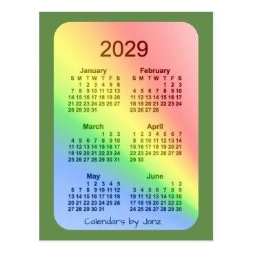 Professional Business 2029 Rainbow Green 6 Month Mini Calendar by Janz Postcard