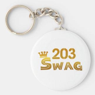 203 Connecticut Swag Basic Round Button Keychain