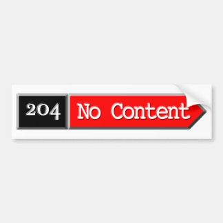 204 - No Content Car Bumper Sticker