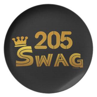 205 Area Code Swag Melamine Plate