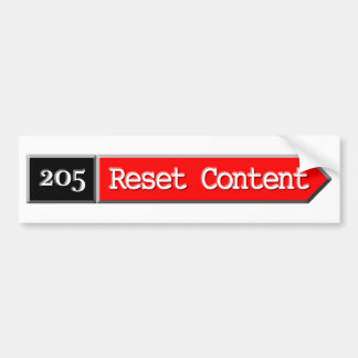 205 - Reset Content Car Bumper Sticker