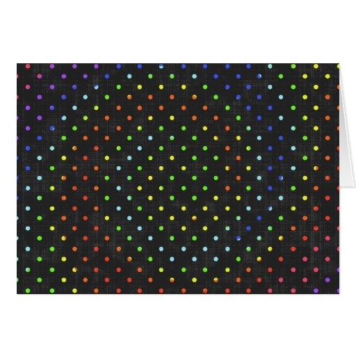 209__neon-paper-black-dots POLKADOTS DOTS CIRCLES Greeting Card