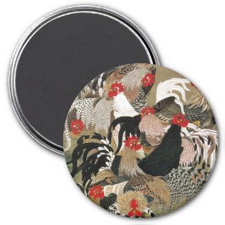 20. 群鶏図, 若冲 Flock of Roosters, Jakuchu 3 Inch Round Magnet