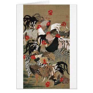 20. 群鶏図, 若冲 Flock of Roosters, Jakuchu Greeting Card