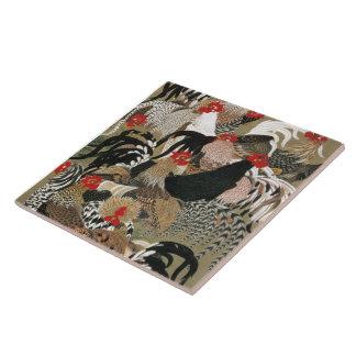 20. 群鶏図, 若冲 Flock of Roosters, Jakuchu, Japan Art Ceramic Tile
