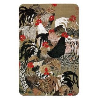 20. 群鶏図, 若冲 Flock of Roosters, Jakuchu, Japan Art Rectangular Photo Magnet