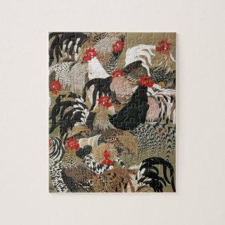 20. 群鶏図, 若冲 Flock of Roosters, Jakuchu, Japan Art Puzzle