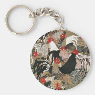 20. 群鶏図, 若冲 Flock of Roosters, Jakuchu Basic Round Button Keychain