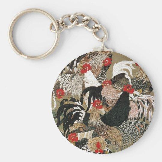 20. 群鶏図, 若冲 Flock of Roosters, Jakuchu Keychain