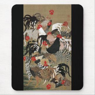 20. 群鶏図, 若冲 Flock of Roosters, Jakuchu Mouse Pad