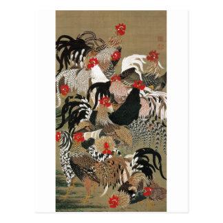 20. 群鶏図, 若冲 Flock of Roosters, Jakuchu Postcard