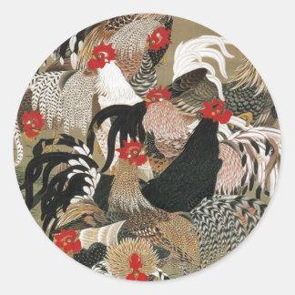 20. 群鶏図, 若冲 Flock of Roosters, Jakuchu Classic Round Sticker