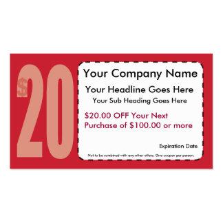 $20,00 De tarjeta de visita de la cupón