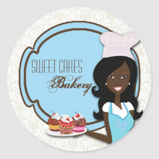 """20 - 1.5""""  African American Baker Cup Cak Stickers"""