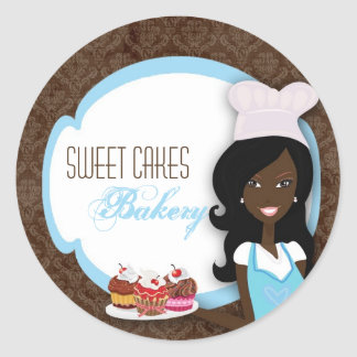 """20 - 1.5""""  African American Baker Cup Cakes Bakery Classic Round Sticker"""