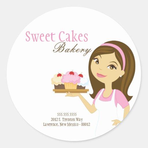 "20 - 1.5""  Bakery Brunette Baker Address Stickers Round Sticker"