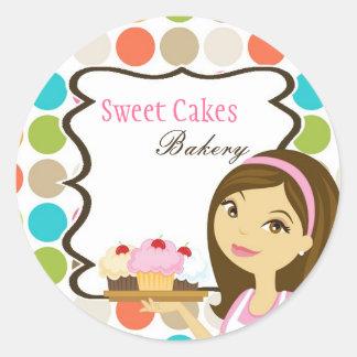 "20 - 1.5""  Bakery Brunette Baker Cup Cake Stickers"