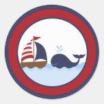 "20 - 1,5"" barco náutico de la ballena del sello etiqueta redonda"
