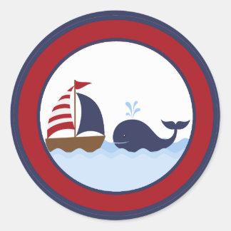 """20 - 1,5"""" barco náutico de la ballena del sello pegatina redonda"""