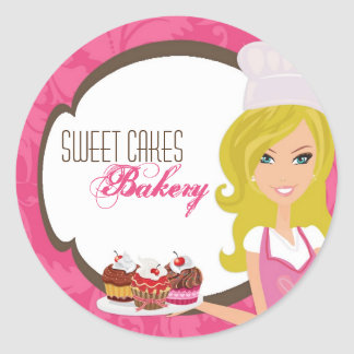 """20 - 1.5""""  Blonde Baker Pink Brow Cup Cakes Bakery Classic Round Sticker"""
