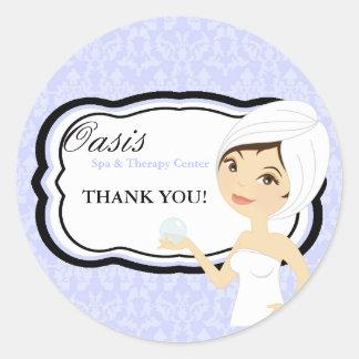 """20 - 1.5"""" Business Stick Blue Damask Spa Massage Classic Round Sticker"""
