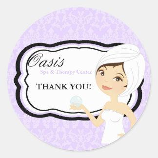 """20 - 1.5"""" Business Stick Purple Damask Spa Massage Classic Round Sticker"""