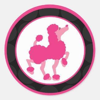 """20 - 1,5"""" caniche rosado francés París del sello Pegatinas Redondas"""
