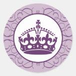 "20 - 1,5"" corona/Swir de la púrpura real del Pegatina Redonda"