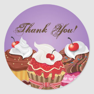 """20 - 1.5""""  Cup Cakes Bakery Thank You Stickers"""