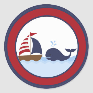 """20 - 1.5""""  Envelope Seal Ahoy Nautical Whale Boat Round Sticker"""